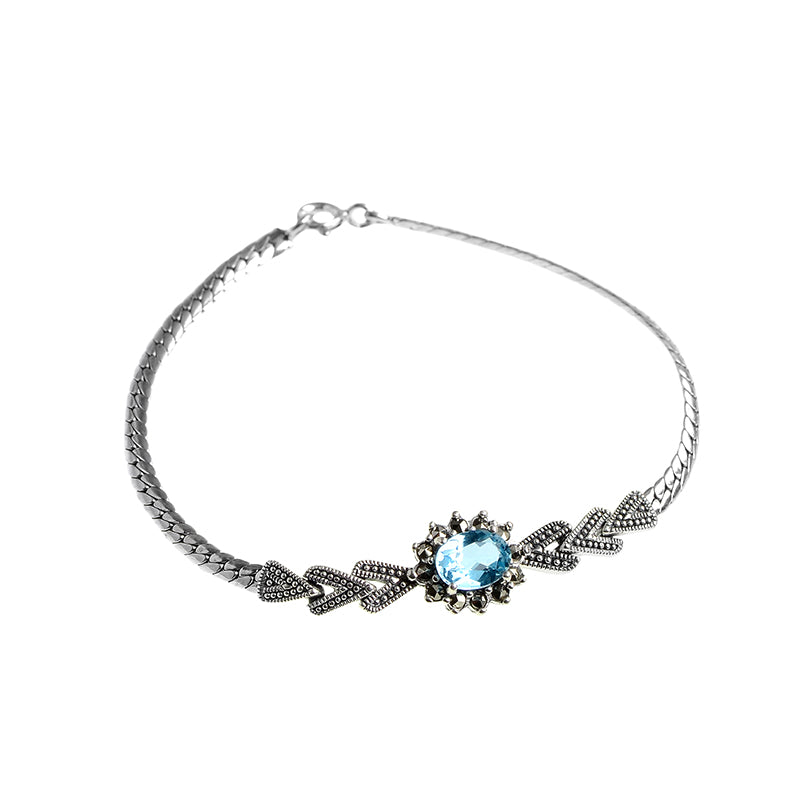 Blue Topaz and Marcasite Sterling Silver Bracelet