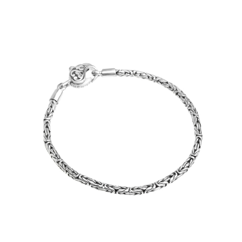 Sterling Silver 3mm Borobadur Bracelet with Lobster Clasp