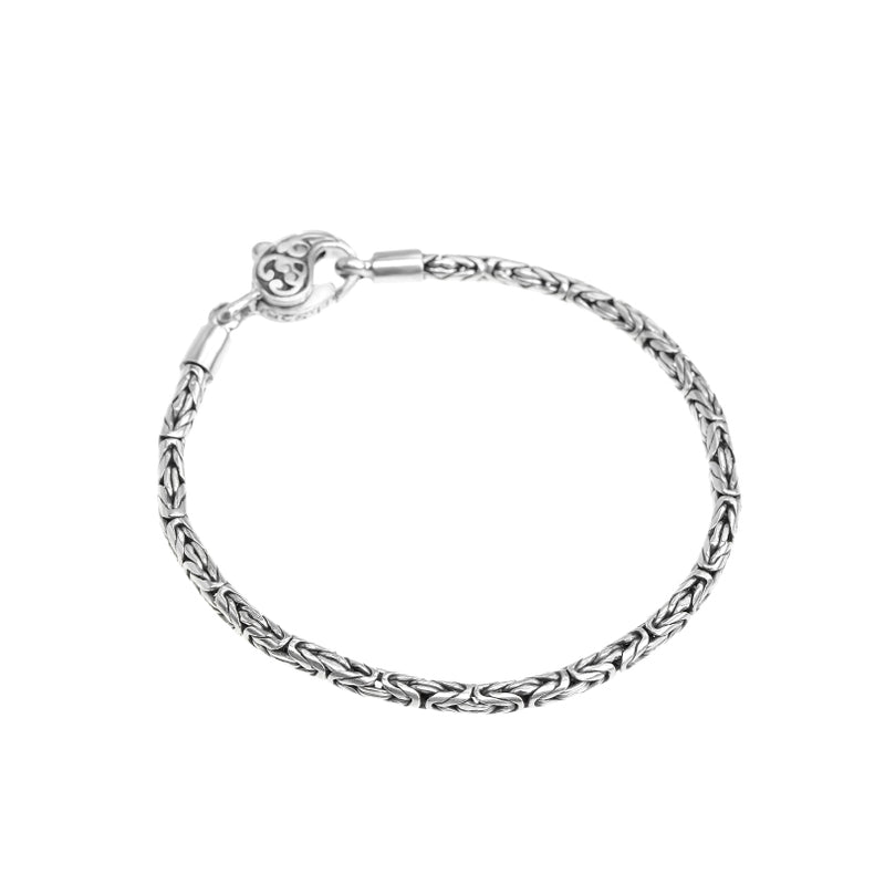 Balinese Sterling Silver 3mm Borobadur Bracelet with Lobster Clasp
