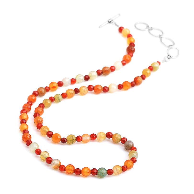 Mixed Colors of Beautiful Faceted Agate & Carnelian Beaded Sterling Silver Necklace