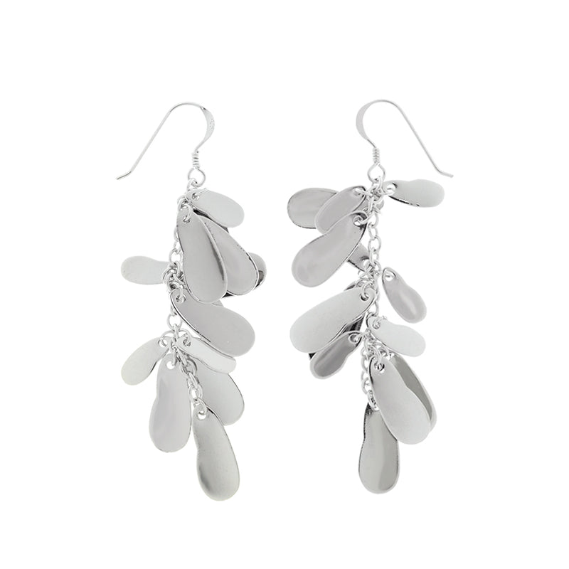 "Radiant Rhodium Plated ""Raindrop Sparkle"" Dangle Earrings Sterling Silver Hooks"