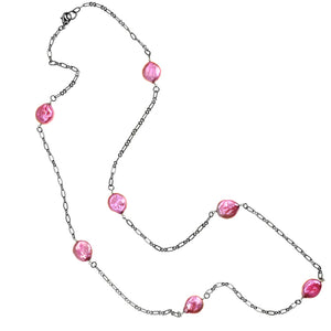 Fresh Water Pink Coin Pearl Black Chain Necklace-30""