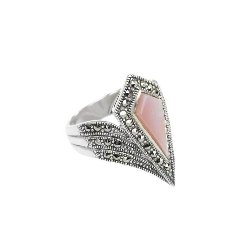 Diamond Crest Pink Mother of Pearl Marcasite Sterling Silver Ring