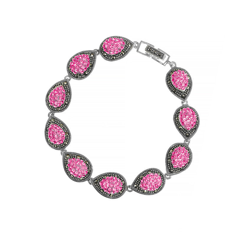 Pink Crystal and Marcasite Bracelet