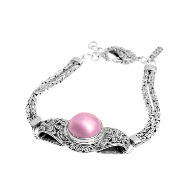 Balinese Pink Mabe Pearl Sterling Silver Bracelet