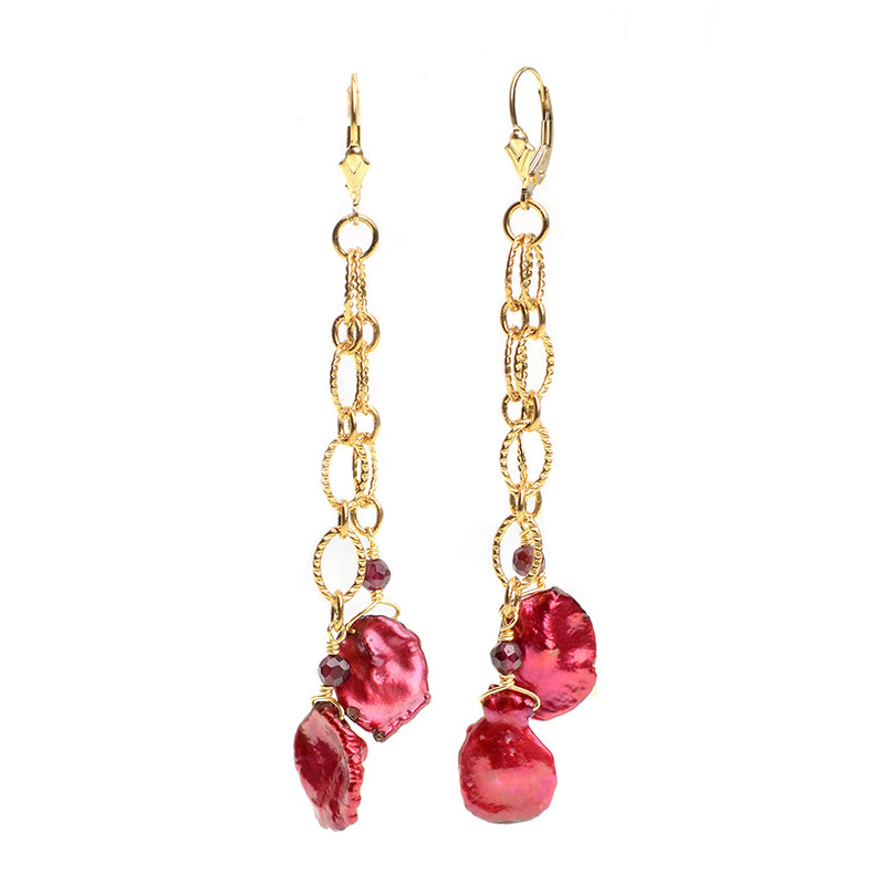 Cherry Red Fresh Water Pearl Gold Plated Chain Earrings With Gold Filled Hooks