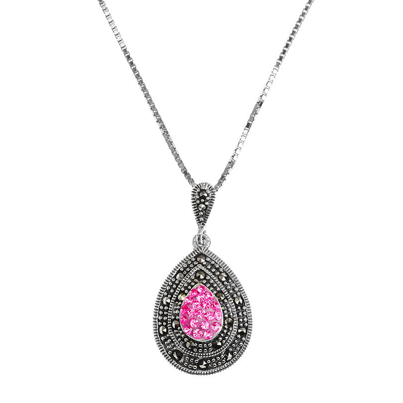 Sparkling Pink Crystal and Marcasite Sterling Silver Necklace