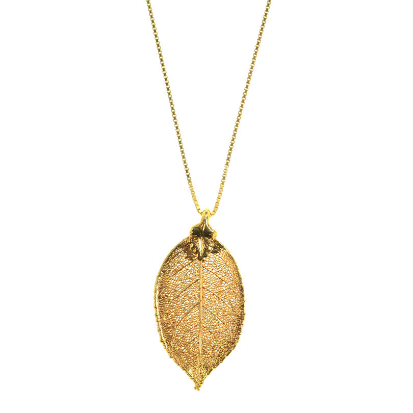 24kt Gold Saturated Real Leaf on 18kt Gold Plated Italian Sterling Silver Box Chain