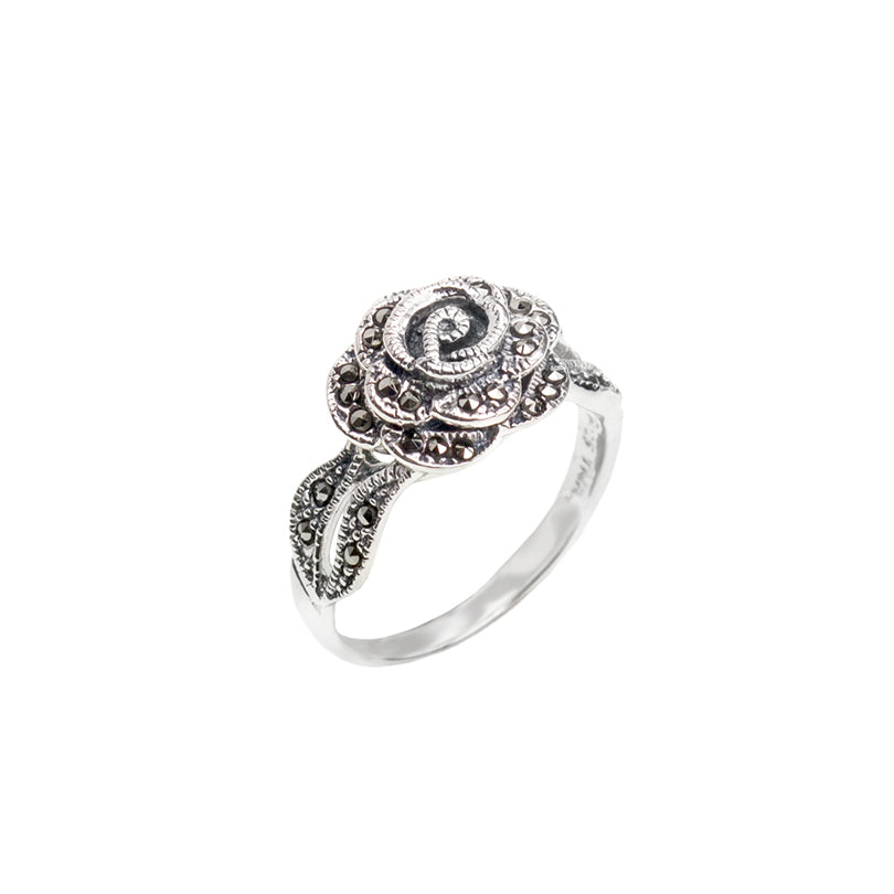 Darling Marcasite Petite  Rose Sterling Silver Ring