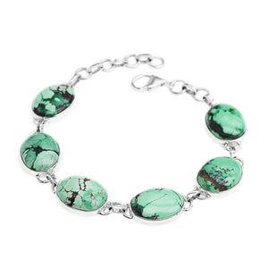 Beautiful Natural Blue Green Turquoise Sterling Silver Bracelet