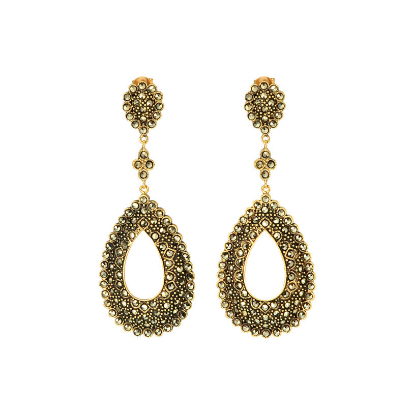 Gorgeous Teardrop Design Gold Plated Marcasite Earrings
