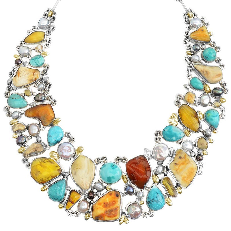Designer Pomianowski Baltic Amber & Turquoise Silver Necklace with 24Kt Gold Accent