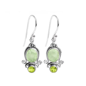 Beautiful Faceted Lemon Quartz and Peridot Sterling Silver Earrings
