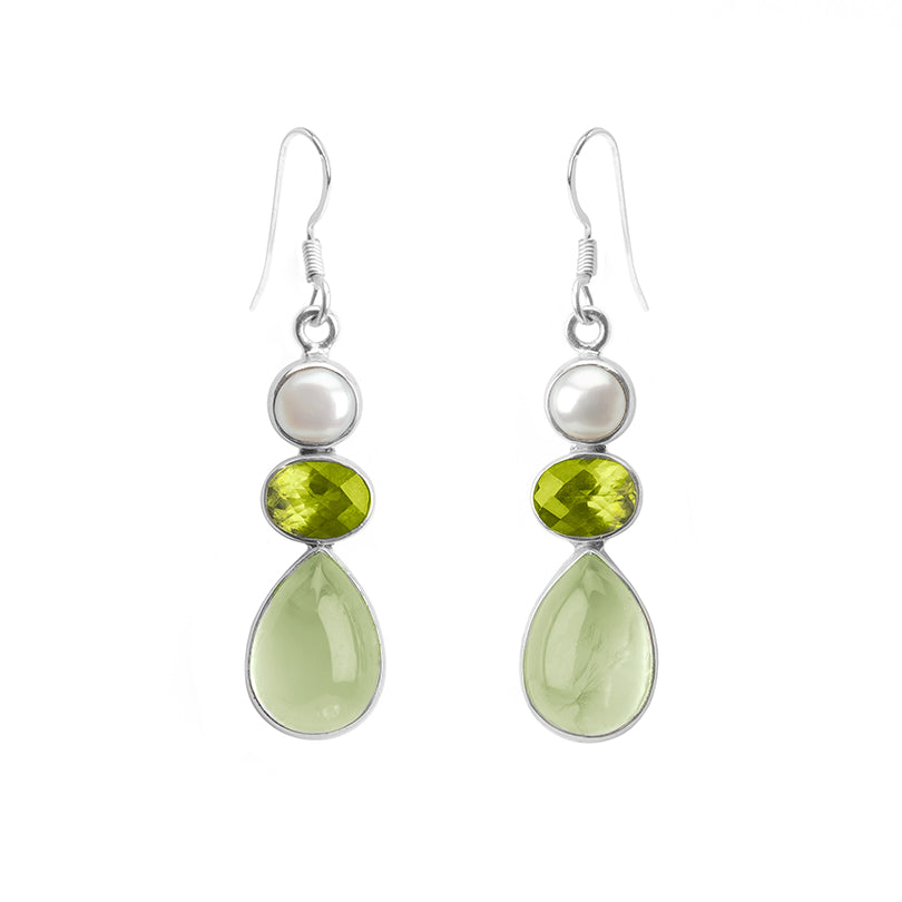 Beautiful Prehnite Peridot and Fresh Water Pearl Sterling Silver Earrings