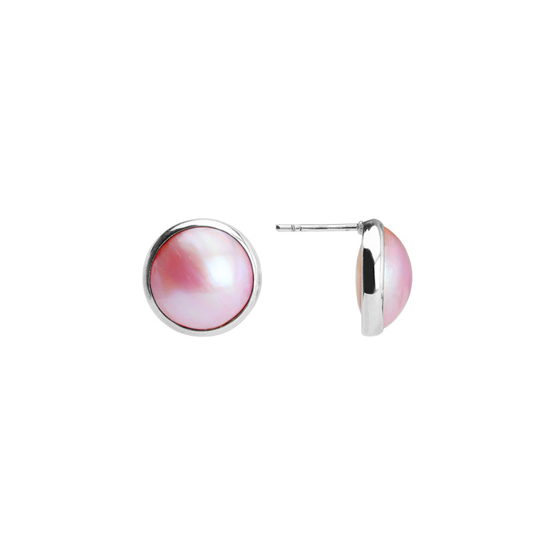 Captivating Pink Mabe Pearl Sterling Silver Post Earrings