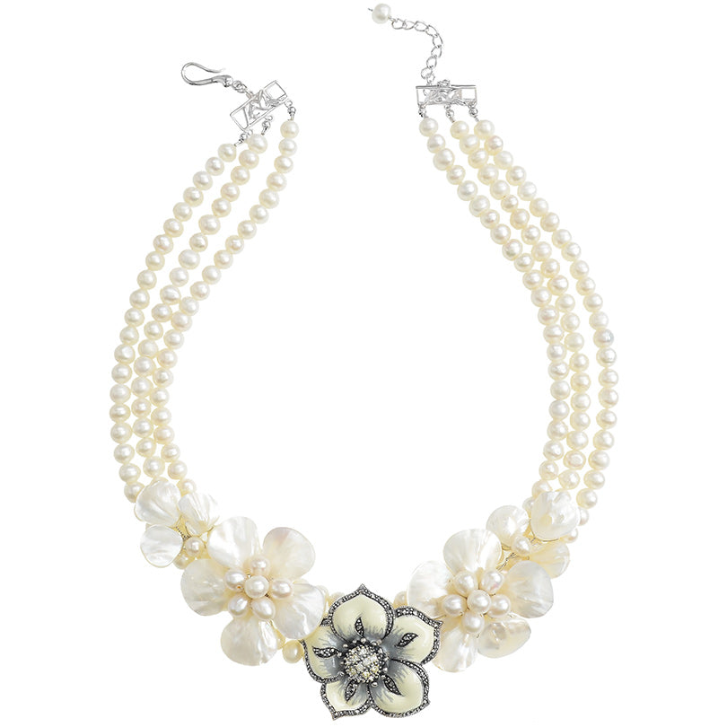Freshwater Pearl Flower Statement Necklace