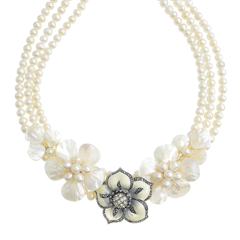 A Celebration of Shells and Pearls Making  a Gorgeous Artistic Jewelry Flower Necklace
