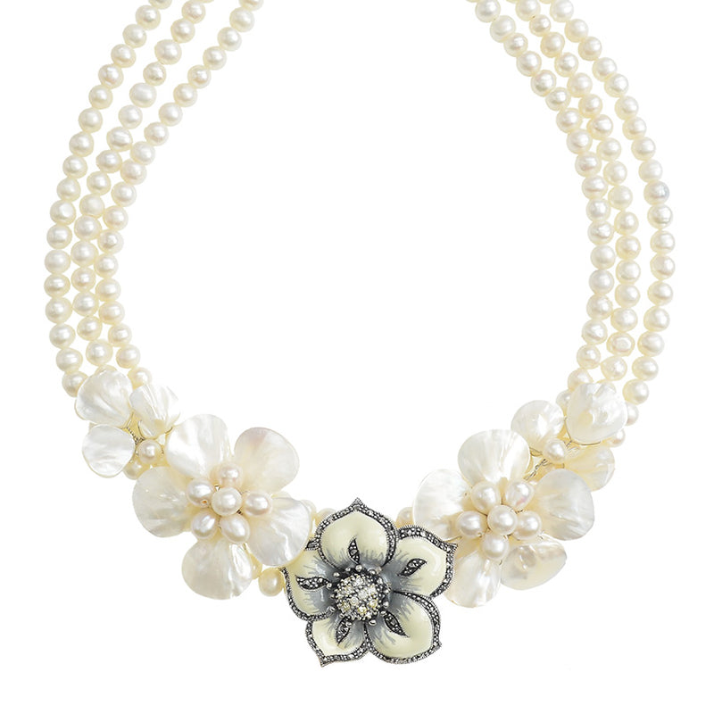 A Celebration of Shells and Pearls Flower Statement Necklace