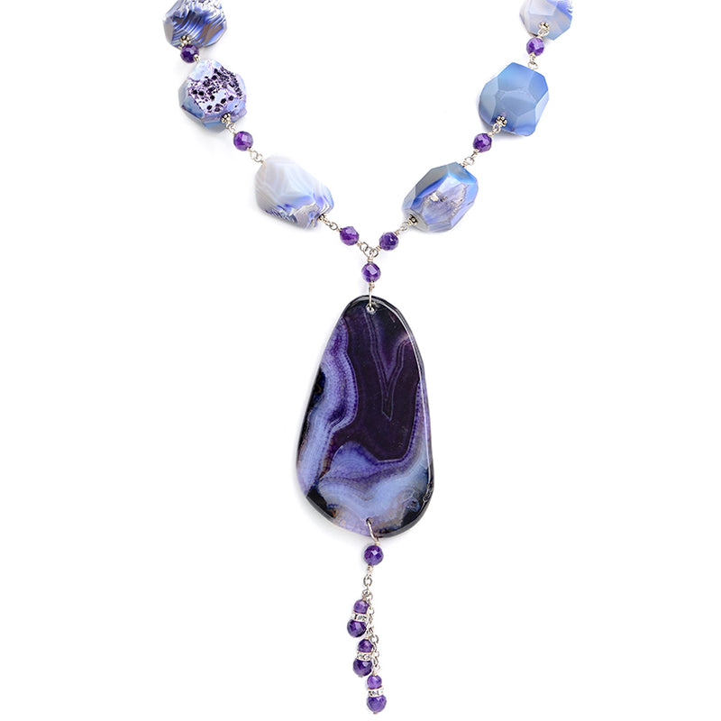 Gorgeous Purple Agate & Amethyst Statement Necklace