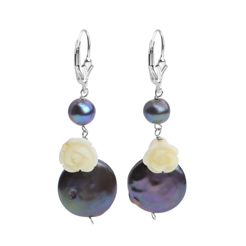 Lovely Dark Blue Coin Pearls with Carved Mother of Pearl Flower Sterling Silver Earrings