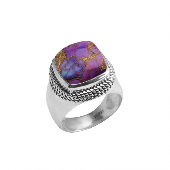 Luxurious Shades of Purple Turquoise in Chunky Sterling Silver Ring