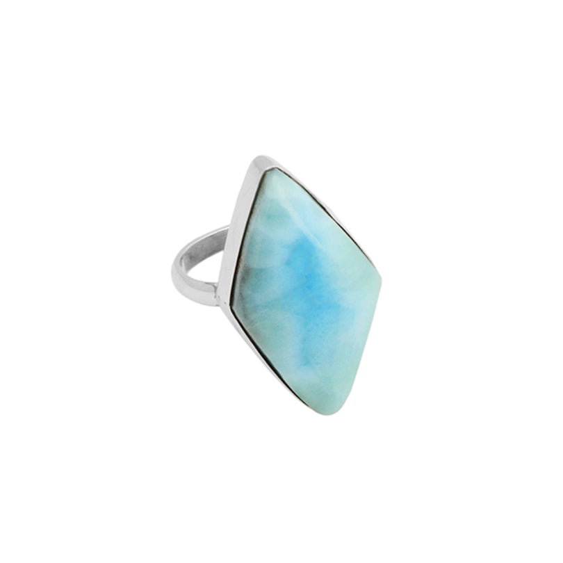Diamond-Shape Larimar Stone Sterling Silver Ring