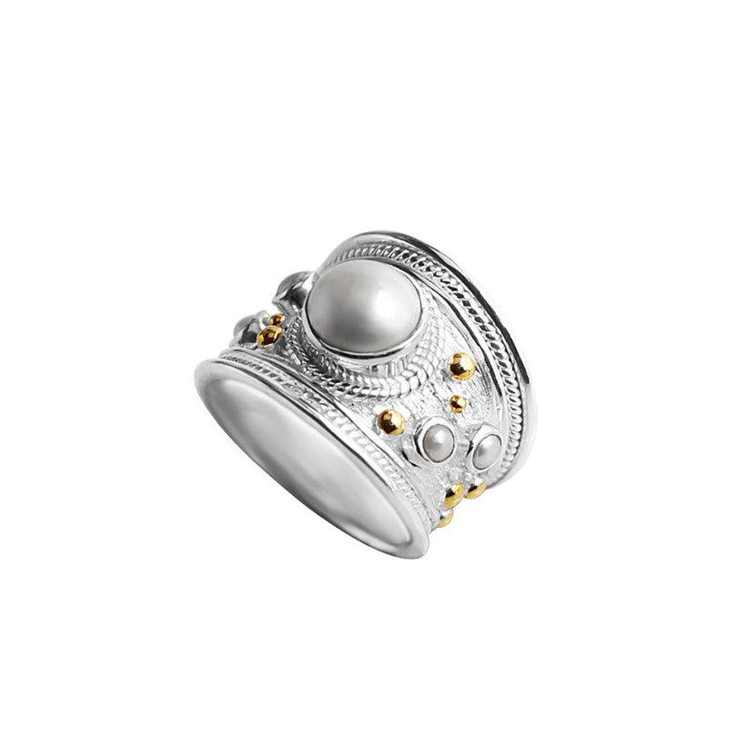 Stunning Fresh Water Pearl Sterling Silver Wide Band Ring With 18kt Gold Accents