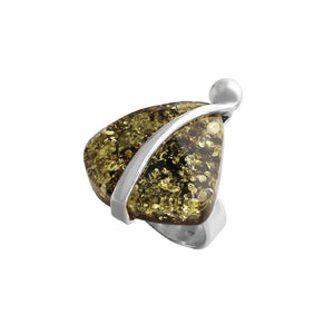 Polish Designer Sparkling Baltic Amber Sterling Silver Statement Ring