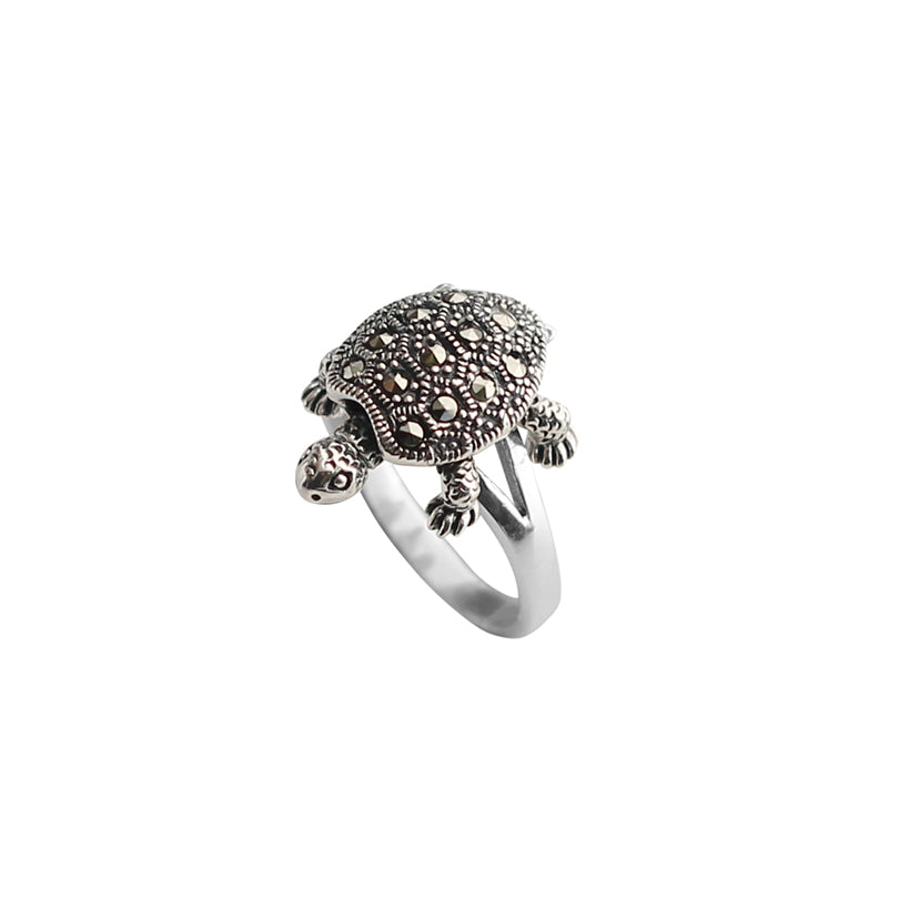 Darling Marcasite Turtle With Movable Legs Sterling Silver Ring