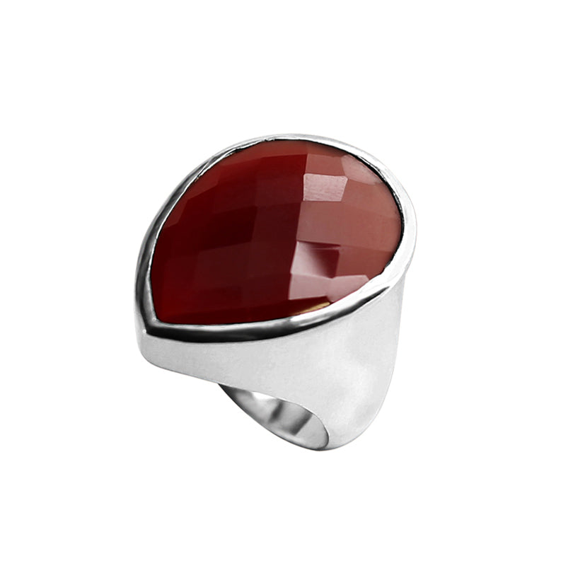 Brilliant Faceted Carnelian Sterling Silver Ring