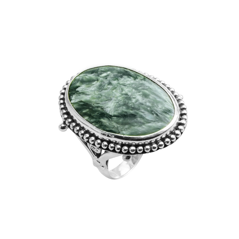 Gorgeous Green Seraphinite Large Stone Sterling Silver Statement Ring