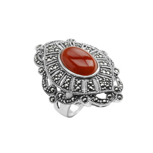 Luxurious Carnelian and Marcasite Sterling Silver Statement Ring size 9