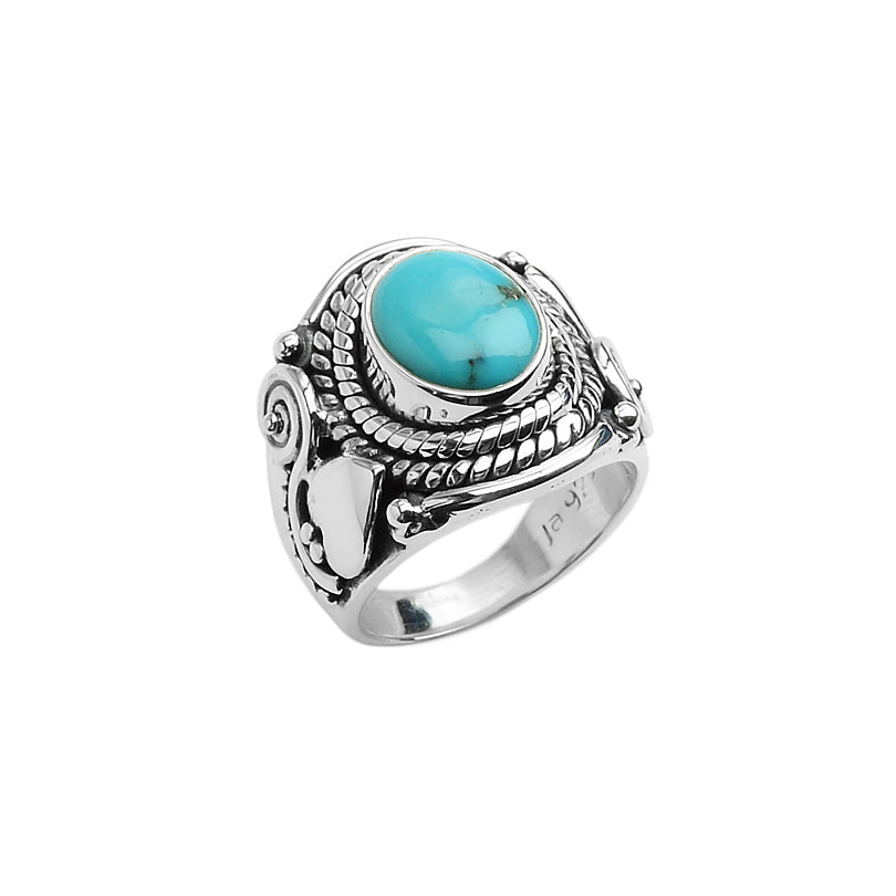 Bright Blue Arizona Turquoise in Beautifully Designed Sterling Silver Ring