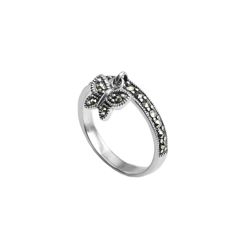 Sweet, Dainty Marcasite Butterfly Charm Sterling Silver Ring