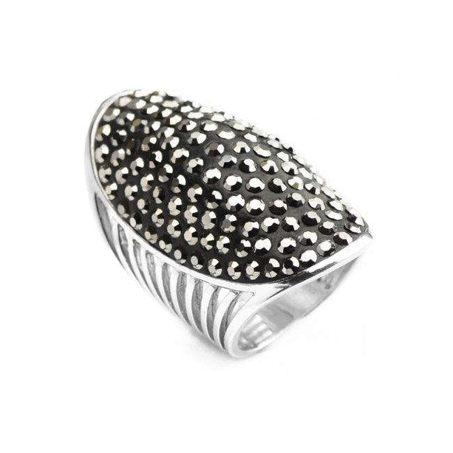 Gorgeous Large Hematite Sterling Silver Ring