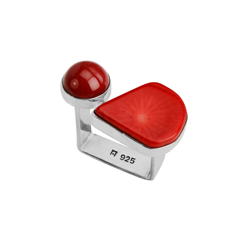 Funky Red Coral Sterling Silver Ring