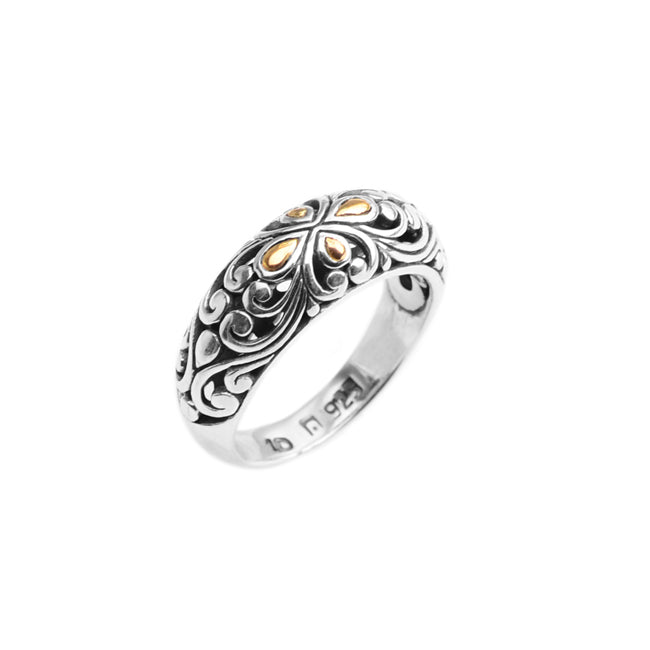 Filigree Sterling Silver Ring With 18kt Gold Trim