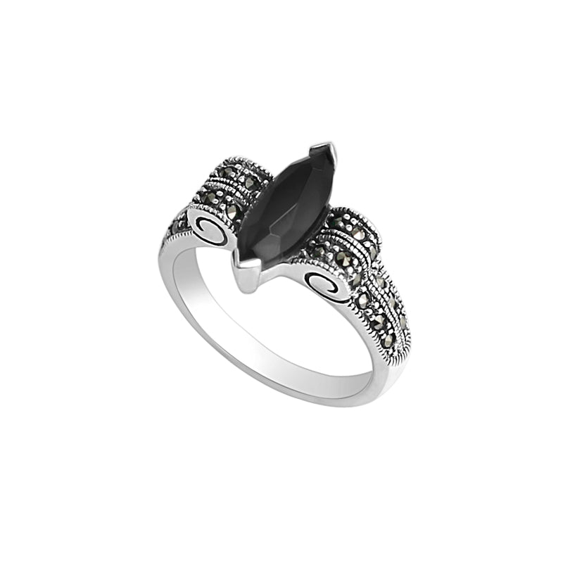Marcasite Marquise Sterling Silver Ring (various color stones)