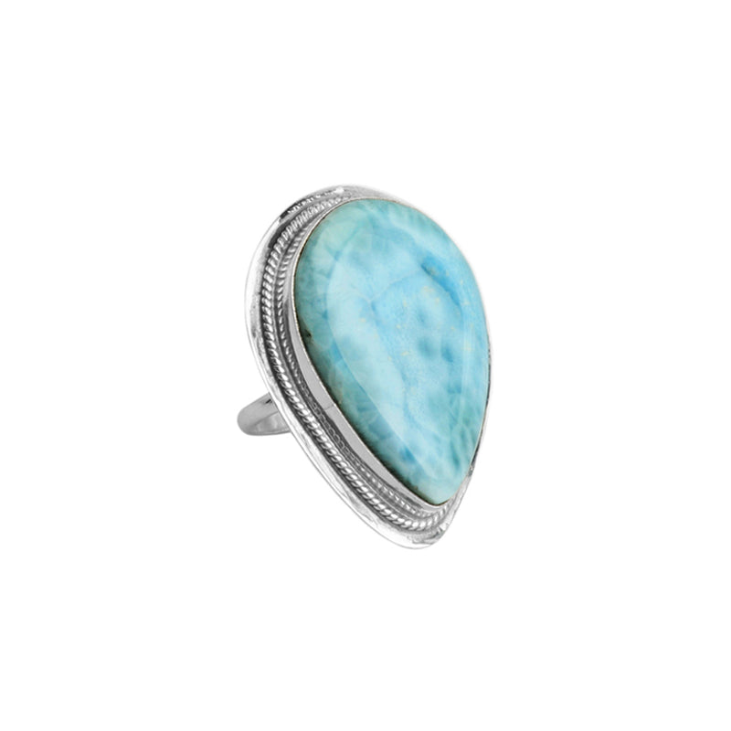 Large Stone Larimar Sterling Silver Ring