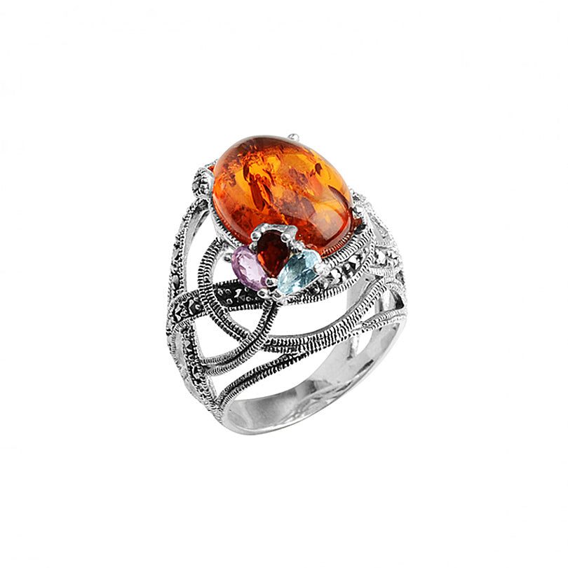Stunning Marcasite and Baltic Amber with Gemstones in Sterling Silver Ring