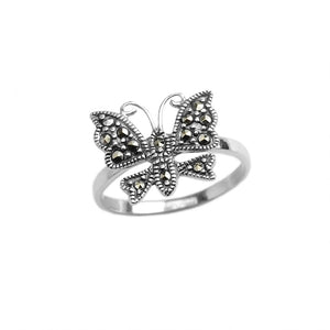 Petite Marcasite Butterfly Sterling Silver Ring