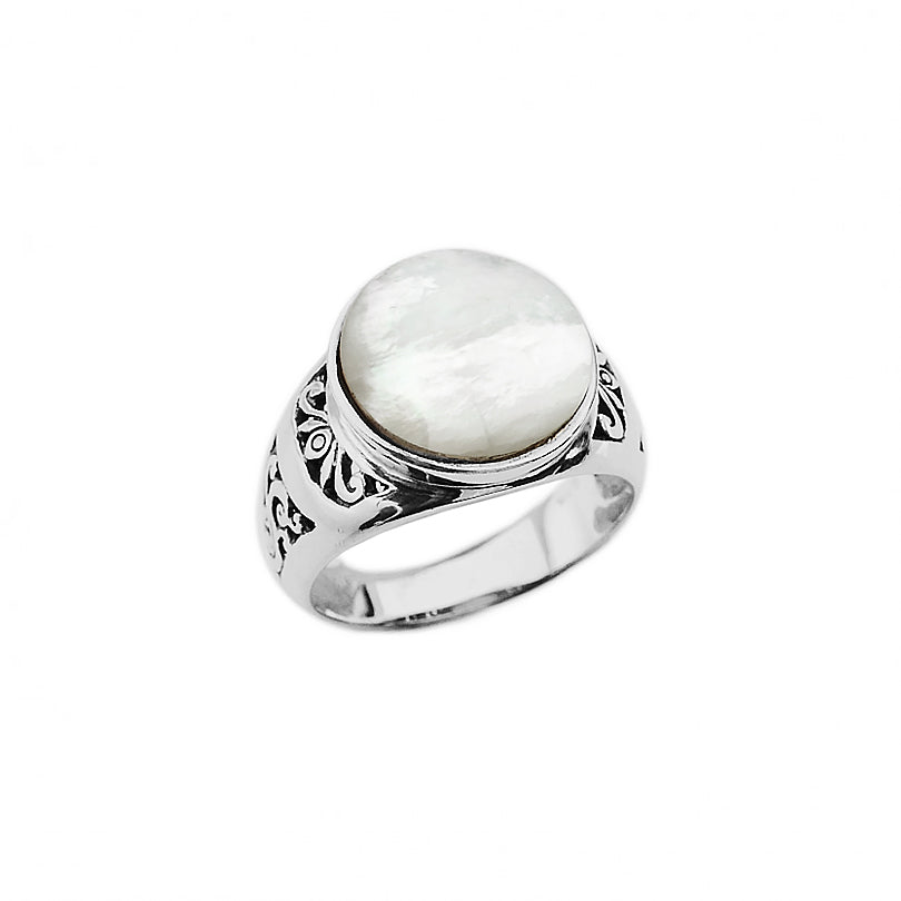 Shimmering Mother of Pearl Sterling Silver Ring