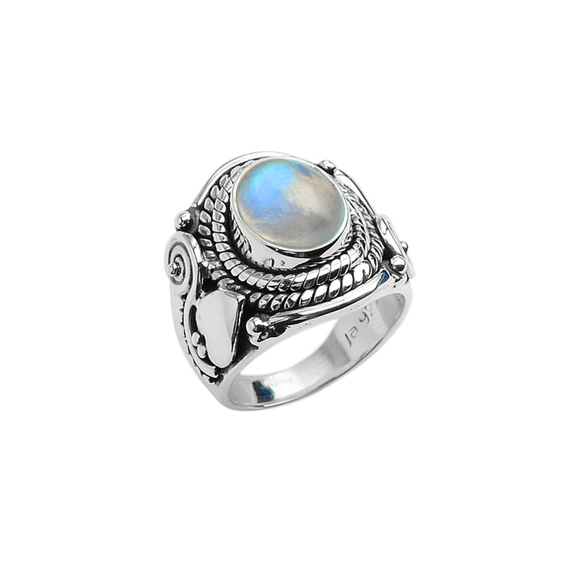 Beautiful Rainbow Moonstone Sterling Silver Ring