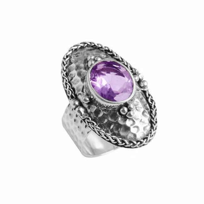 Really Beautiful Amethyst Stone in Hammered Sterling Silver Ring