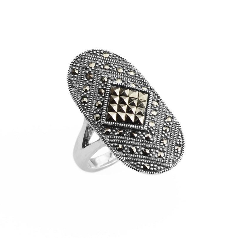 Beautiful Marcasite Sterling Silver Ring