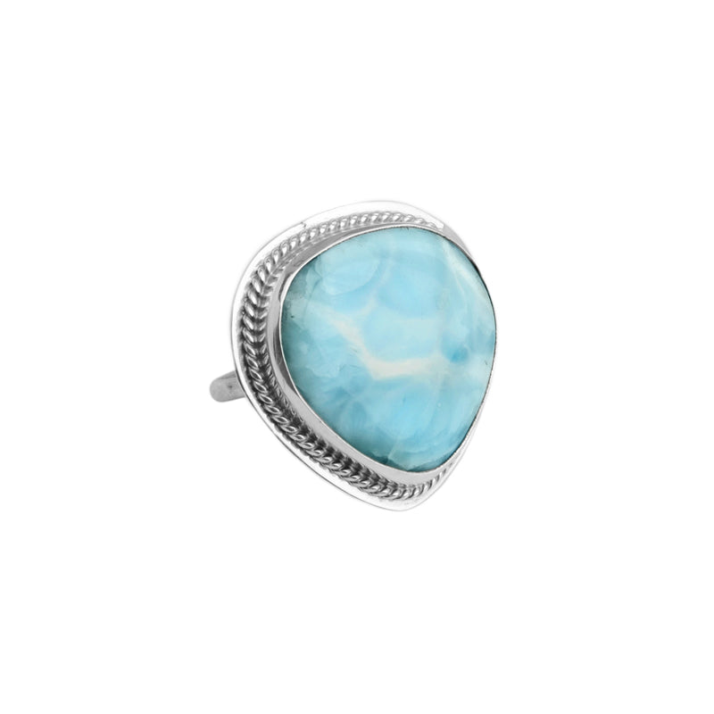 Silky Larimar Sterling Silver Statement Ring