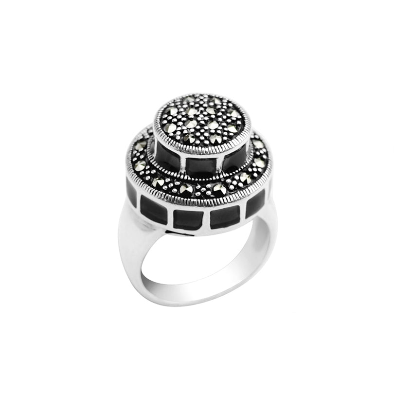 Luxurious Art Deco Black Enamel and Marcasite Sterling Silver Ring