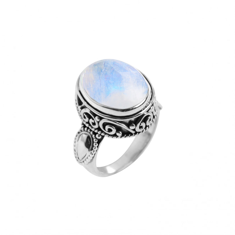 Gorgeous Opalescent Moonstone Sterling Silver Ring