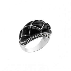 Masterful Black Agate and Marcasite Sterling Silver Statement Ring