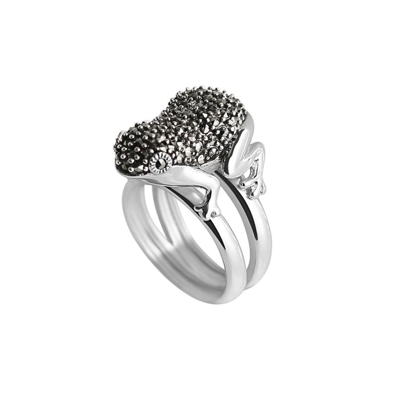 Delightful Marcasite Sterling Silver Frog Ring